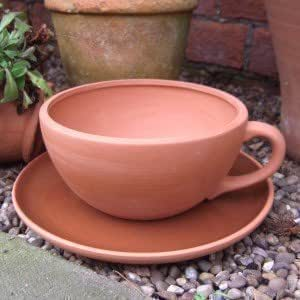 Terracotta Tea Cup And Saucer Planter Large Cup Dia Garden Outdoors