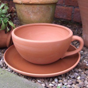 Terracotta Tea Cup And Saucer Planter Large (Cup Dia 17.5cm)
