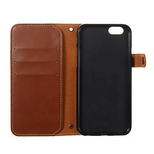 JIALUN-Telefon Fall Retro Folio Horizontale Flip Stand Case mit Magnetniet Verschluss & Card Slots & Lanyard für iPhone 6 & 6s ( Color : Blue ) Brown