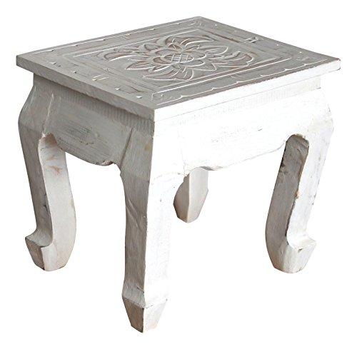Geschnitzte Hocker (Wohnkult Blumenhocker 30 cm Tischchen Hocker Tritthocker Deko Antik Handarbeit geschnitzt (Weiß))