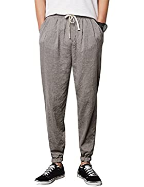 Zhhlinyuan alta calidad Men's Linen Casual Loose Fit Pants Thin Breathable Summer Trousers