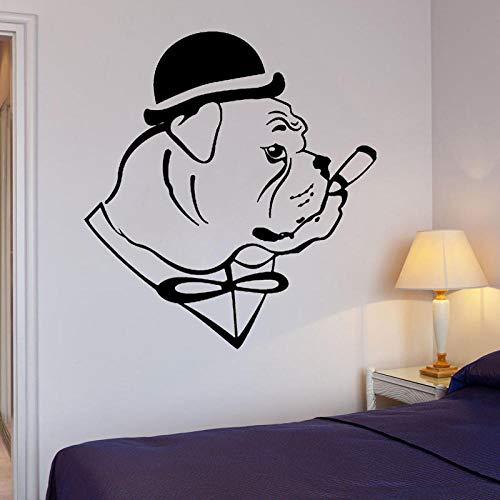 Wandaufkleber Spaß-Bulldoggen-Hund Im Hut-Herr-Zigarre-Wand-Aufkleber-Abziehbild-Dekor Pvc 45Cm * 50Cm (Es Ein Zigarren Junge Ist)