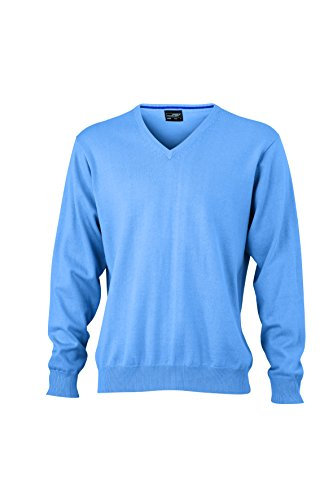 James & Nicholson Herren V-Neck Pullover Blau (Glacier-Blue)