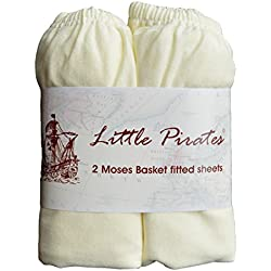 2 x Baby Pram/Crib/Moses Basket Jersey Fitted Sheet 100% Cotton Cream 30x75cm