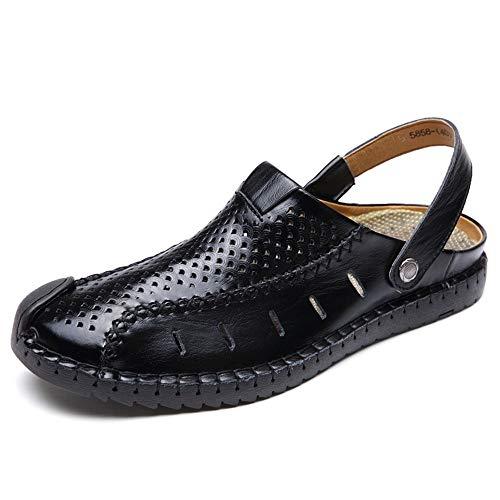 Sandali piatti traspiranti da uomo Sandali in pelle moda punta chiusa leggero regolabile estate pantofola maglia confortevole scarpe da pesca all'aperto pescatore ( Color : Nero , Dimensione : 44 EU )