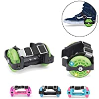Xootz Heel Wheel Roller Skates, Attachable Shoe Trainer Wheels for Kids, Boys and Girls with LED Lights, Green, One Size
