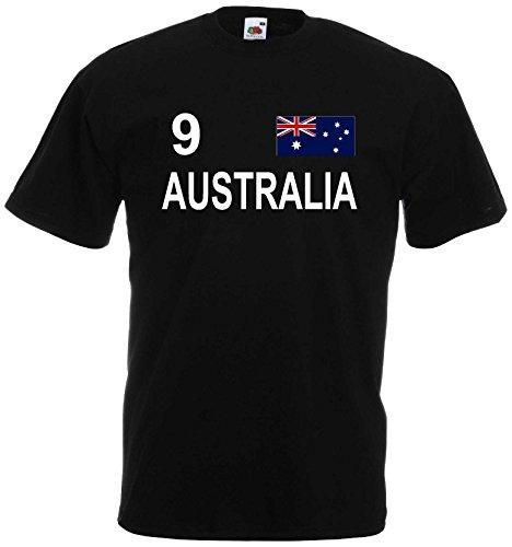 world-of-shirt Herren T-Shirt Australien Trikot S-XXL|schwarz XXL
