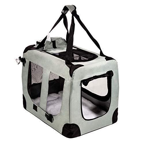 Smartfox Hundebox Hundekäfig Katzenbox Auto Transportbox mit Kunstfell-Matte tragbar faltbar Größe L (67 x 50 x 50) cm in Grau
