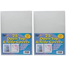 Pack of 50 A4 200 Micron Strong Open Top & Side Covers File Wallets Clear Cut Flush