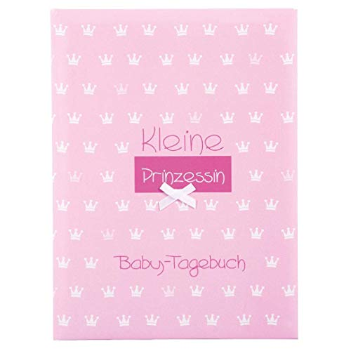 Goldbuch Babytagebuch, Kleine Prinzessin, 21 x 28 cm, 44 illustrierte Seiten mit Pergamin-Trennblättern, Kunstdruck mit Relieflack und Accessoires, Rosa, 11087
