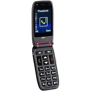 """AEG Voxtel M410 Telefono Cellulare con Grandi Tasti, Tasto Sos e Schermo LCD da 2.4"""", Rosso"""