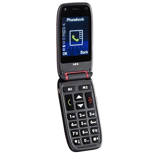 """AEG Voxtel M410 - Senioren Klapp-Handy mit Großen Tasten, Ohne Vertrag, 2.4\"""" LCD-Display, Bluetooth, Kamera, Notruffunktion, Taschenlampe & FM-Radio - Rot"""
