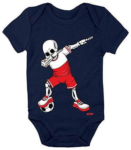 Land Kostüm Polen - HARIZ Baby Body Kurzarm Fussball Dab Skelett Polen Land Trikot Inkl. Geschenk Karte Matrosen Dunkel Blau 12-18 Monate