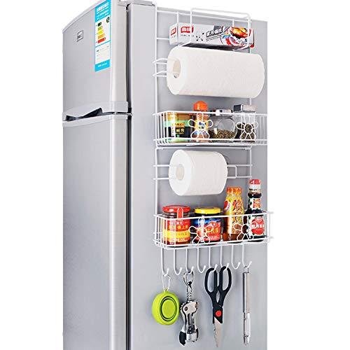 XCXDX Kühlregale Seitenwand Haushaltswaren Küche Speisekammer Gewürzablage Weiß Metalldraht