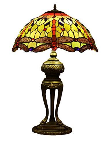 Tiffany-Stil Schreibtischlampe/Leselampe, 20 Zoll Euro Kreative Glasmalerei Schreibtischlampe mit Zinklegierung Basis, Antike Kunst Tischleuchte für Salon Cafe, BOSS LV - Euro Sockel-basis