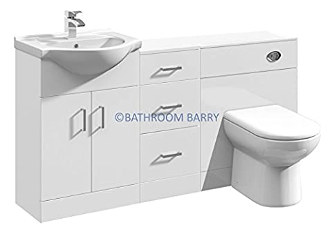 1500mm Modular High Gloss White Bathroom Combination Vanity Basin Sink Cabinet, Three Drawer Cupboard, WC Toilet Furniture & BTW