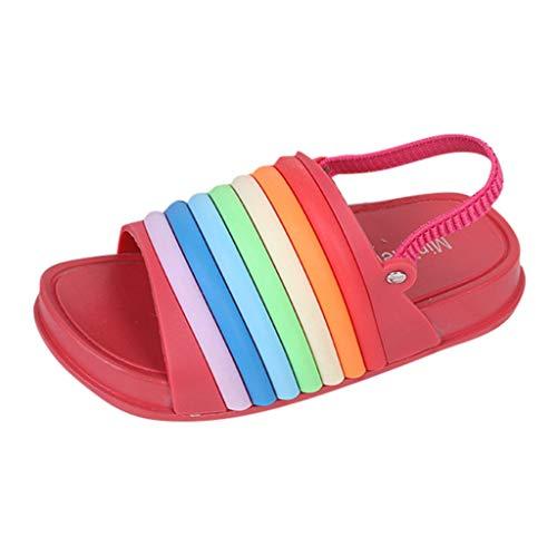 Scarpe da Spiaggia Casual Pantofole Sandali Arcobaleno Traspirante Antiscivolo Scarpe da Doccia Estive Ciabatte Infradito,Sandali con Cinturino alla Caviglia Unisex - Bambini(27,Rosso)