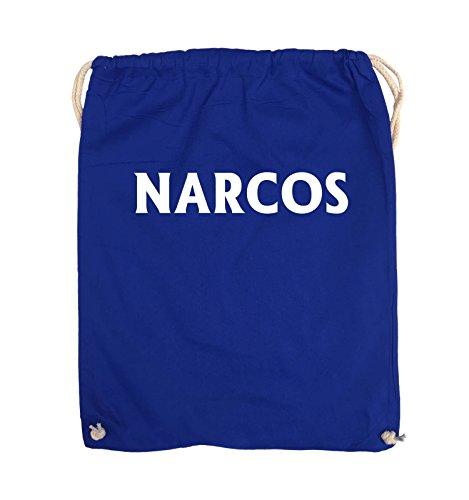 Comedy Bags - NARCOS - LOGO - Turnbeutel - 37x46cm - Farbe: Schwarz / Pink Royalblau / Weiss