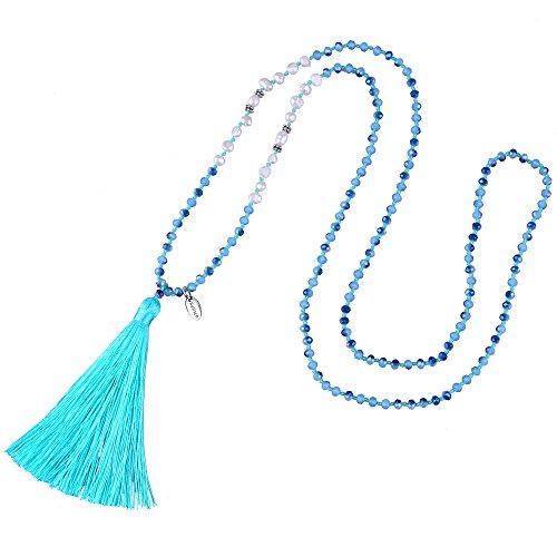 KELITCH Tasselkette Bohemian Perlmutt Kristall Perlen Quaste Anhänger Halskette Damen Lange Kette - Türkis