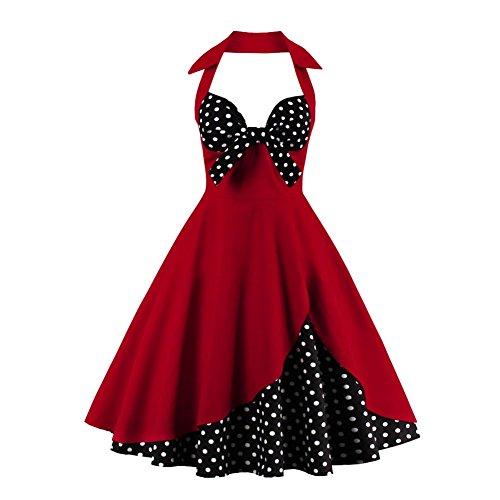 Frauen Vintage Retro Swing Pinup 30er 50er Jahre 60er Jahre Frühling Sommer Bowknot Ball Kleider(4XL)