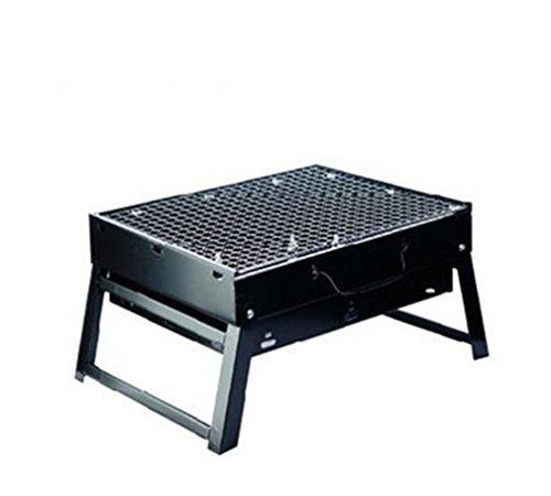 BBQER-A Folding Home Grill Outdoor Portable Kohle BBQ Ofen, Edelstahl schwarz mit Iron Mesh -
