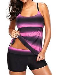 Bettydom Plus Size Ladies Gradient Color Tankini Set Backless Top&Bottom Swimsuit Sporty Swimwear S-3XL
