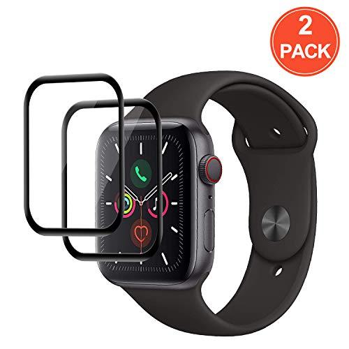 POOPHUNS Verre trempé Protecteur d'écran pour Apple Watch Series 5/4, [2 Pièces] 44mm Couverture Full Film Protection écran en Protecteur Vitre Haut Définition,Anti-Rayures, sans Bulle - Noir