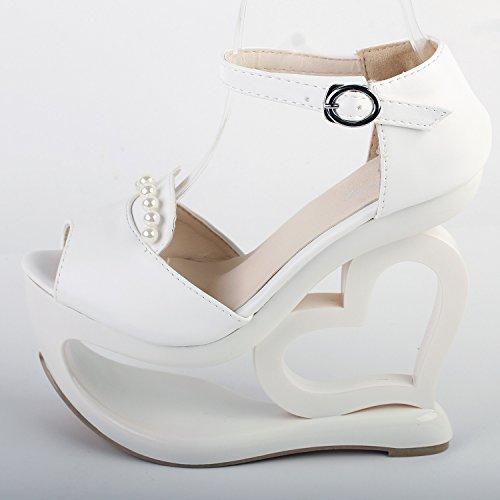 Visualizza storia Bianco Glam D-orsay perla cuore tacco zeppa damigella d'onore matrimonio Sandali, LF40209 Bianco