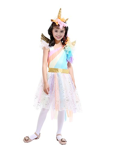 (Alvivi Mädchen Prinzessin Bekleidung Süß Engel Regenbogen Kostüm Mädchen Einhorn Partykleid Tutu Rock mit Stirnband+Flügel Gr.110-152 Colorful 140-152)