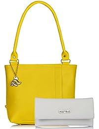 Fostelo Women's Combo Handbag & Clutch (Yellow & White) (FSB-950-FC-31)