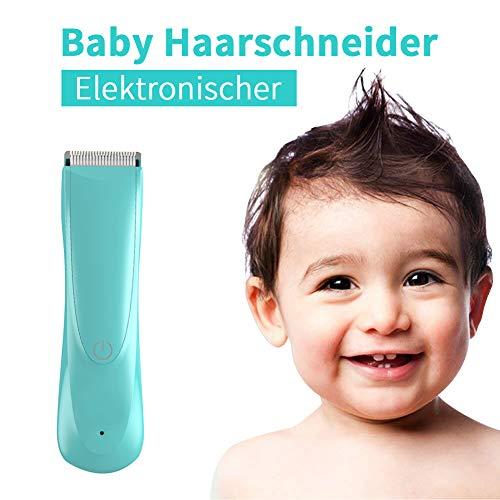 Elektronischer Profi Baby Haarschneider,Safe Ceramic Blade,Stumm Wasserdicht Drahtlos Haarscherer,USB Wiederaufladbare,mit 2 Verstellbaren Haarkamm(Blau)