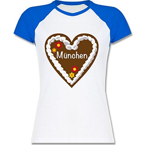 Oktoberfest Damen - Lebkuchenherz München - zweifarbiges Baseballshirt / Raglan T-Shirt für Damen Weiß/Royalblau
