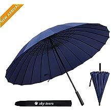 Paraguas Caballero Grande Clásico Antiviento,24 Varillas Reforzadas, Mango de Cuero Recto Paraguas de