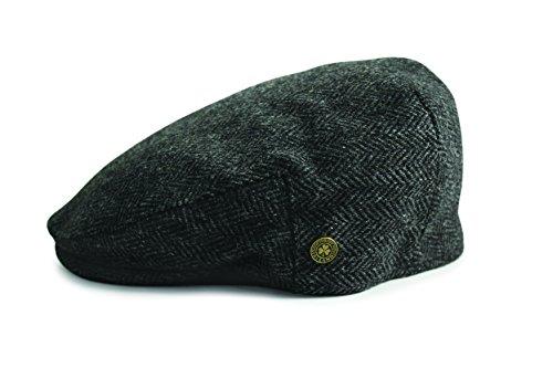Irische Wollmütze mit Fischgrätenmuster und Kleeblatt-Abzeichen, grau