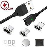 Magnet USB Kabel Magnetisches Ladekabel Micro USB Type C Lighting 3-in-1 von Adapter für Android Phone Samsung(QC3.0 Sync-Daten Schnelles Aufladen)