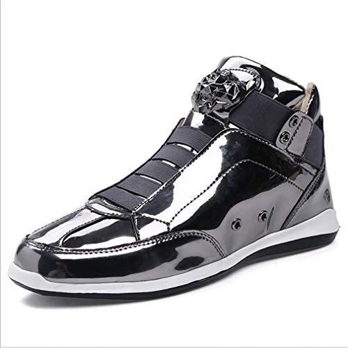 Hy scarpe da uomo artificiali pu primavera/autunno personalità scarpe casual flusso di marea eleganti scarpe lucide/scarpe da passeggio mocassini e slip-on marea scarpe da uomo nere/oro/argento