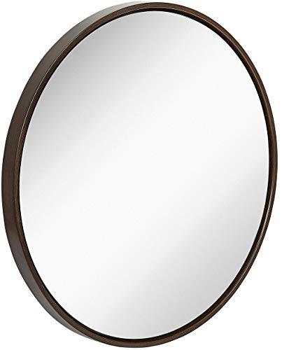 Moderne-holz-badezimmer-eitelkeit (Hamilton Hills Sauber Large Modern Holz-Kreis-Rahmen Wandspiegel Moderne Silber Backed Schwimm Runde Glastafel Eitelkeit, Schlafzimmer oder Badezimmer Hanging 32