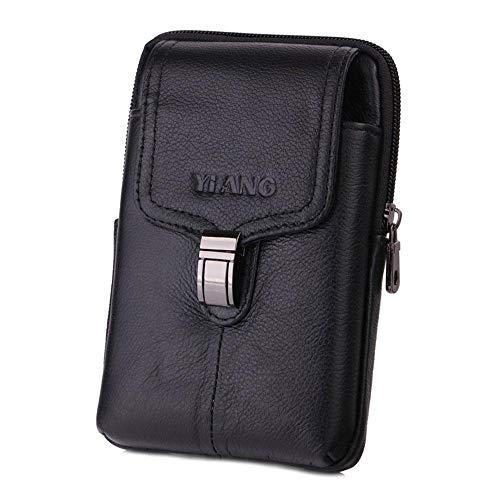 Womdee Gürteltasche für Herren, aus echtem Leder, Mini-Reisetasche mit Clip für Kreditkarten, Führerschein, iPhone X, Samsung Android Smartphone etc. Black-03