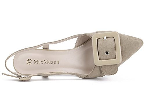 MaxMuxun Scarpe Col Tacco Donna Slingback Beige