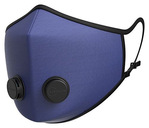 Airinum Urban Air Mask 1.0 - Atemmaske mit Zertifiziertem Schutz vor Feinstaub, Allergien, Luftverschmutzung, Smog und Bakterien. Waschbar, Wiederverwendbar, mit Austauschbarem Filter - Solid Blue M