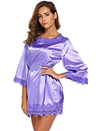 2a3a05c116a1a0 EKOUAER Damen Classischer Satin Schlafanzug Langarm Spitze Nachtkleid Mini  Nachthemd Nachtwäsche