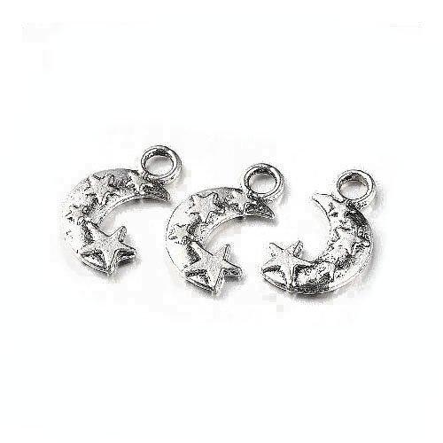 Charming beads pacco 10 x argento antico tibetano 19mm ciondoli pendente (luna) - (zx08520)