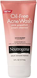Neutrogena Oil-Free Acne Wash Cream Cleanser, Pink Grapefruit 6 oz (Pack of 3)