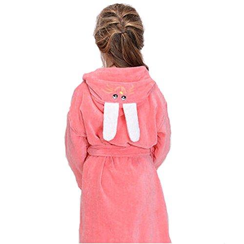 Boys Girls Terry Towelling Bathrobe Kids Cotton Sleepwear Robe, Pink S