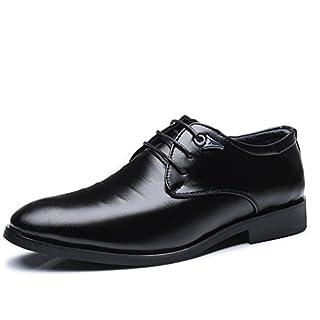 Jingkeke Herren Business Casual Oxfords Herren Blockabsatz Schnürschuh Freizeit Formelle Schuhe auffällig (Color : Schwarz, Größe : 41 EU)