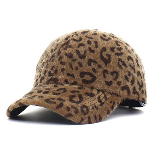DWcamellia Hut Frauen Winter Herbst Baseball Cap Leopard Dicke Warme Streetwear Cap Knochen Snapback Einstellbare Casual Sport Baseball Cap, braun