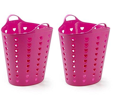 Kreher 2 x Flexibler Wäschekorb, Mehrzweckkorb, Gelocht, in Pink. mit Griffen und Nutzvolumen ca. 65 Liter Pro Korb.