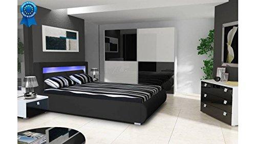 mobilier nitro Lit Design Lumineux Roméo Noir 180cmx200cm Noir sans Matelas sans sommier