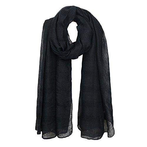 Nuofengkudu Bufandas Mujer Verano Fulares Largo Elegante Suave Viscosa Ahueca Estilo Bohemio Mantón Estolas Scarfs 185cm * 80cm Negro