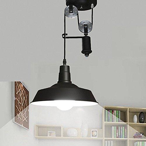 NIUYAO Lámparas de araña Metal Cuenco Polea Iluminación de Techo Ajustable Estilo Loft Industrial...
